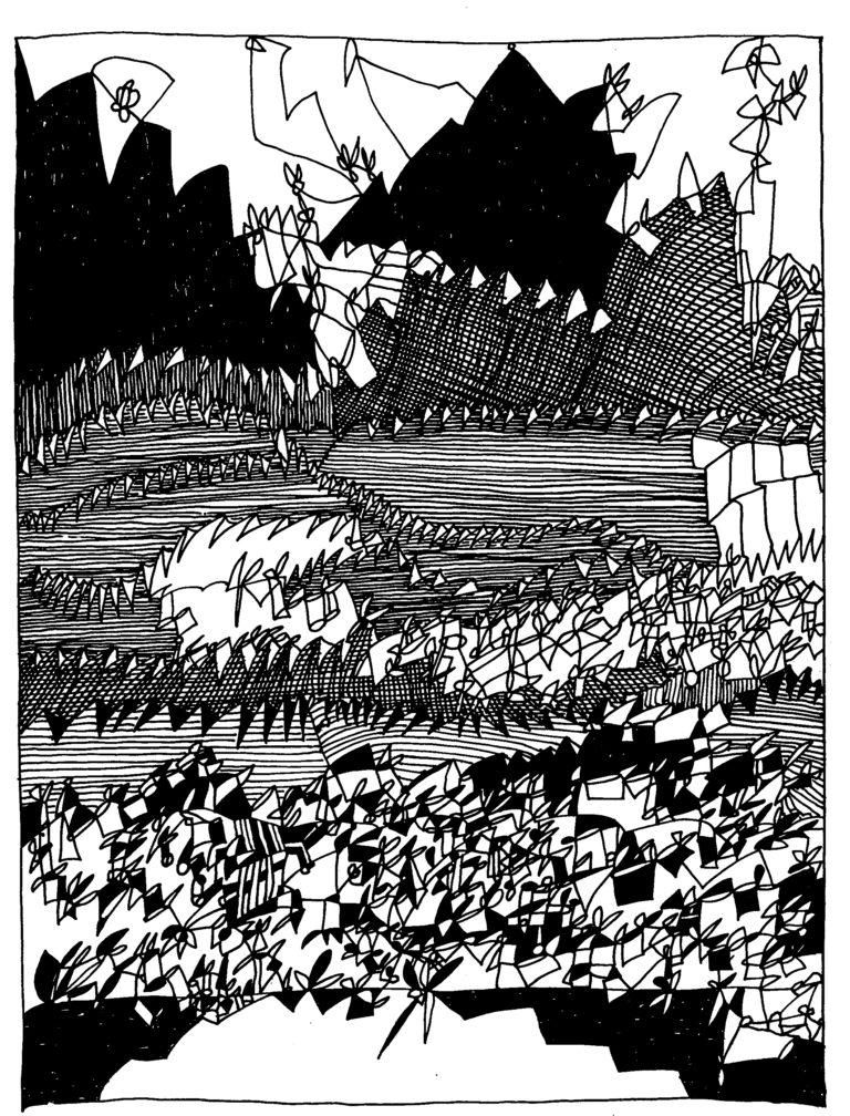 051 - landschap met bergkammen