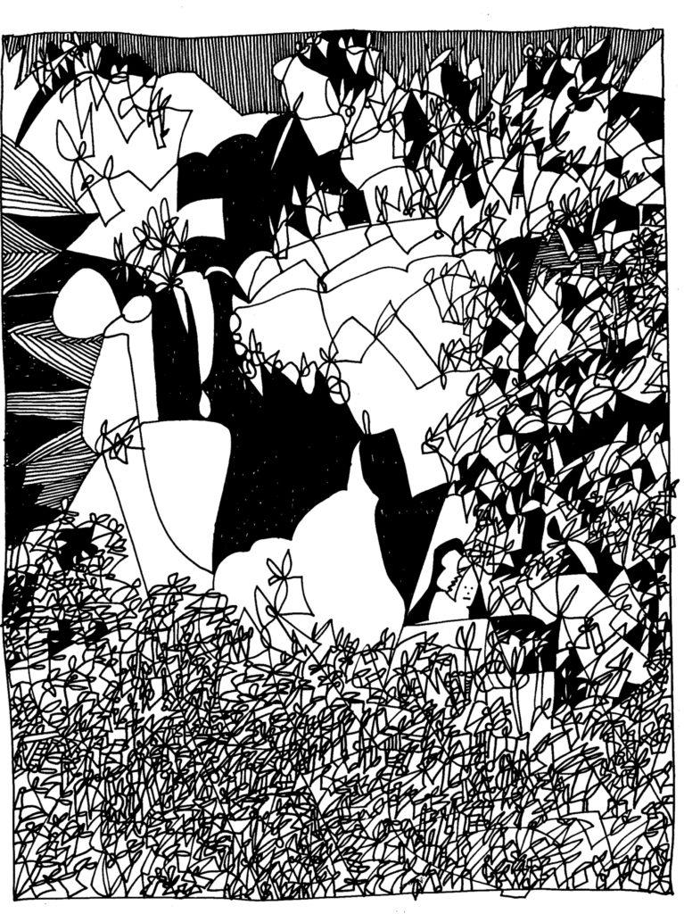 071 - abstracte vlakvulling met klein figuurtje