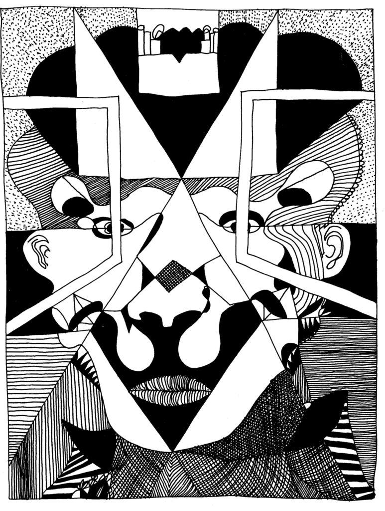082 - portret met opengewerkte oogkleppen