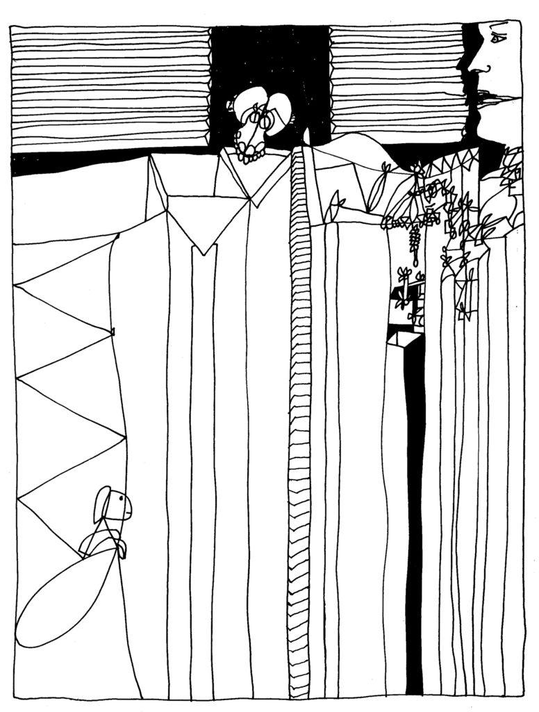 109 - staand naaktmodel van onderen gezien