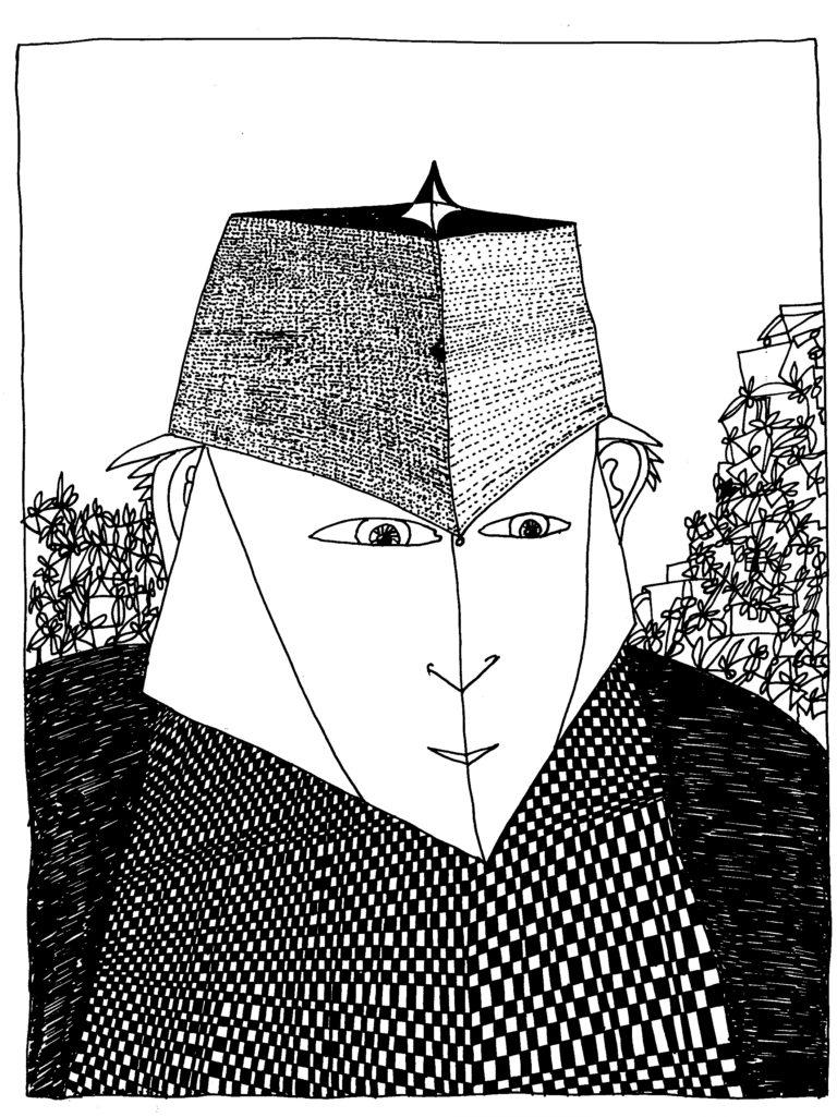 250 - vierkante muts en felle blik